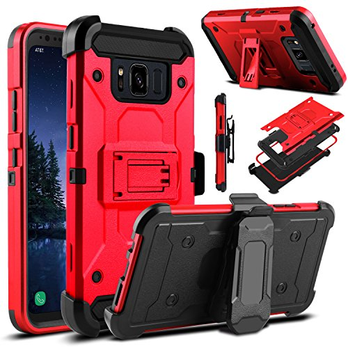 Galaxy S8 Active Case, Venoro Heavy Duty Armor Shockproof Rugged Protection Case Cover with Belt Swivel Clip and Kickstand for Samsung Galaxy S8 Active 5.8