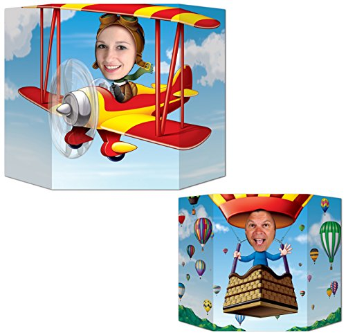 Hot Air Balloon Packages - Beistle S57951AZ2, 2 Piece Biplane/Hot Air Balloon Photo Props, 3' 1'' x 25''