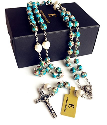 elegantmedical Handmade Nice Blue Cloisonne & 10mm Pearl Bead Rosary Necklace Italy St.Benedict Cross Box