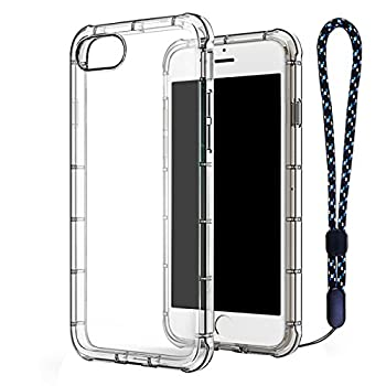 Image of iPhone 7 Plus Case Clear TPU, ACO-UINT Ultra Slim Reinforced Frame Crystal Clear Shock-Absorption Flexible Soft TPU Bumper with Anti-dust Plug and Wrist Strap for iPhone 7 Plus 5.5 inch Transparent Basic Cases