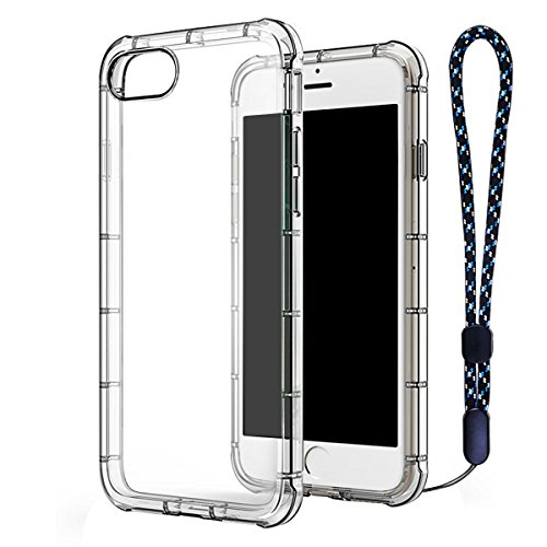 iPhone 7 Case Clear TPU, ACO-UINT Ultra Slim Reinforced Frame Crystal Clear Shock-Absorption Flexible Soft TPU Bumper with Anti-dust Plug and Wrist Strap for iPhone 7 4.7 inch Transparent