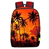 Chiclinco 3D Palm Tree Backpack Slim Back to School Beach Backpacks Travel Laptop Rucksack Daypack (Sunset)