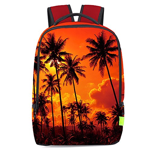 Chiclinco 3D Palm Tree Backpack Slim Back to School Beach Backpacks Travel Laptop Rucksack Daypack (Sunset) (Trees With Palm Backpack)