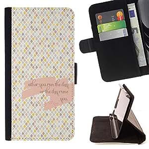 BullDog Case - FOR/Samsung Galaxy Core Prime / - / checkered pattern tiles love quote /- Monedero de cuero de la PU Llevar cubierta de la caja con el ID Credit Card Slots Flip funda de cuer