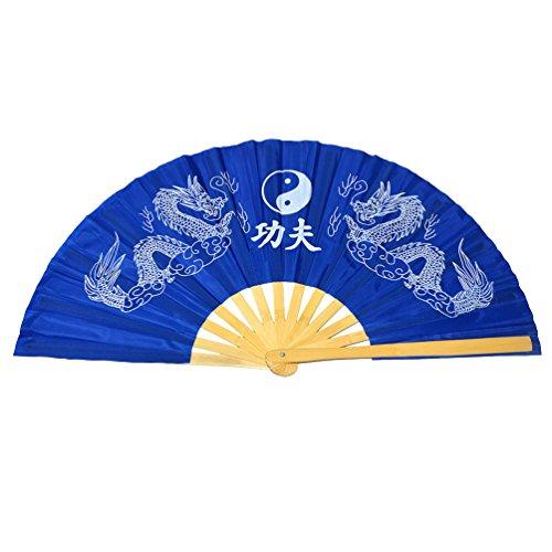 - Chinese Kung Fu Tai Chi Fan Arts Dance/Practice Performance Bamboo Folding Fan (Dragon And Phoenix blue background)