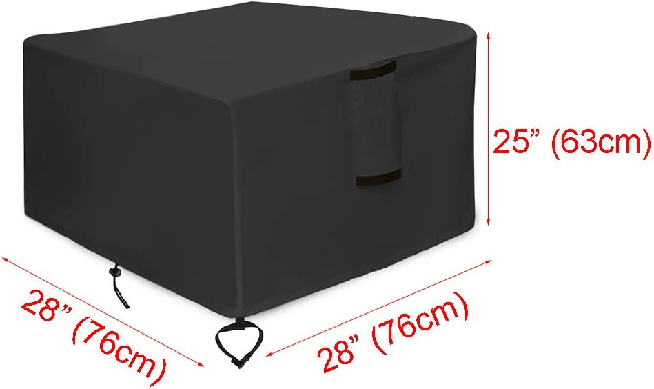 Saking Gas Fire Pit Cover Square 28x28x25 inch Designed for TACKLIFE GFP01 Fire Table Waterproof Windproof Anti-UV Heavy Duty Patio Firepit Furniture Covers