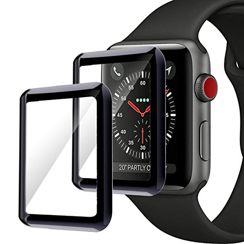Moresky Apple iWatch Screen Protector Tempered Glass for Apple Watch 42mm Series 3/2/1, [3D Curved Edge] [Full Coverage] [Anti-Scratch] [High Definition] (2 Pack, Black) by Moresky (Image #8)