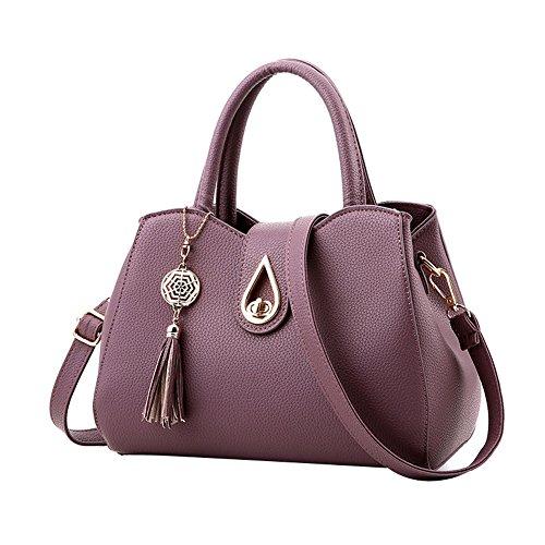 SHUhua - Bolso mochila  de Piel para mujer morado oscuro