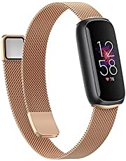 Wongeto Band Compatible with Fitbit Luxe,Adjustable Stainless Steel Loop Mesh Magnetic Strap Replacement Wristbands Bracelet for Fitbit Luxe Fitness and Wellness Tracker for Women Men (Rose gold)