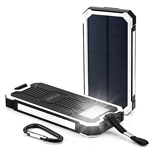 Solar Charger, FKANT 15000mAh moveable twin USB Solar Battery Charger External Battery Pack smartphone Charger potential Bank having 6LED Flashlight for iPhone iPad Samsung HTC Cellphones and More