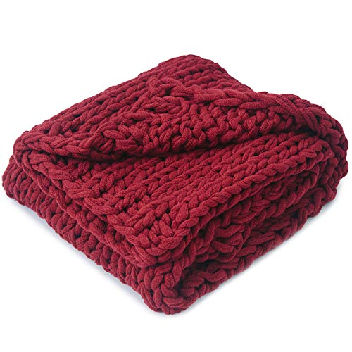 Cheer Collection Chunky Cable Knit Throw Blanket | Ultra Plush and Soft 100% Acrylic Accent Throw - 50 x 60 inches, Burgundy
