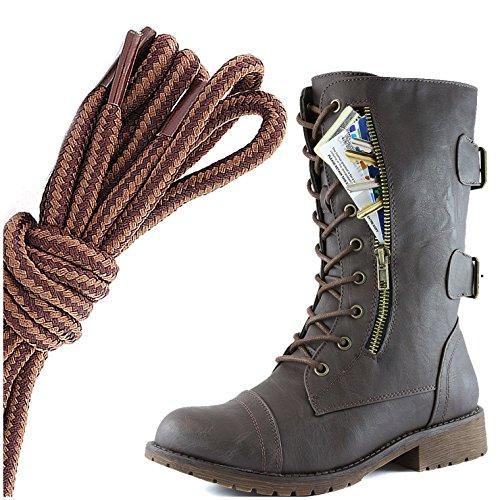 Dailyshoes Dames Militaire Veter Gesp Laarzen Mid-knie Hoge Exclusieve Creditcard Zak, Bruin Lichtbruin Bruin Pu