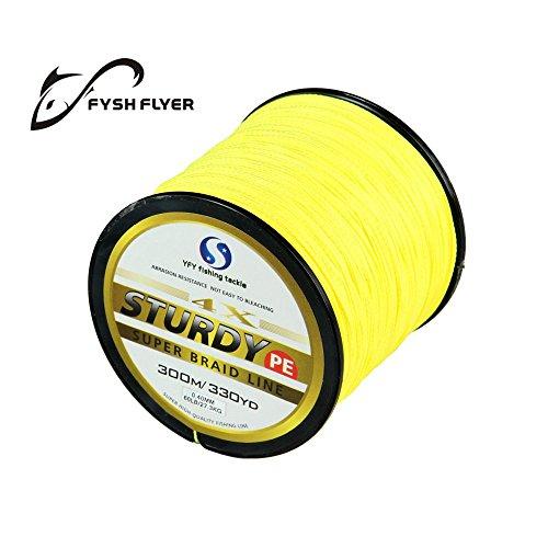 FyshFlyer STURDY 4X-PE Braided Yellow Fishing Line - 300M Premium Quality; Super Power; Cut Resistant; 8LB to 60LB