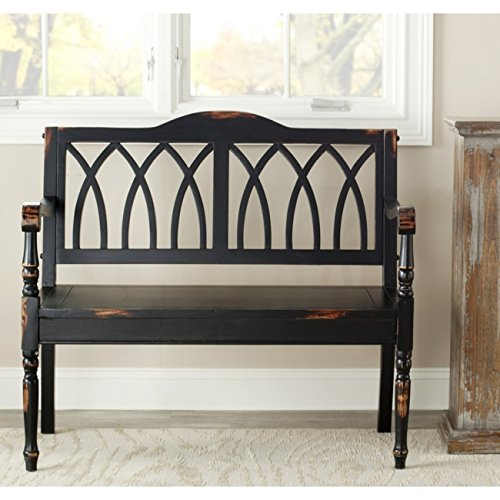 Safavieh American Home Collection Chatham Distressed Black Bench (Black Entry Bench)