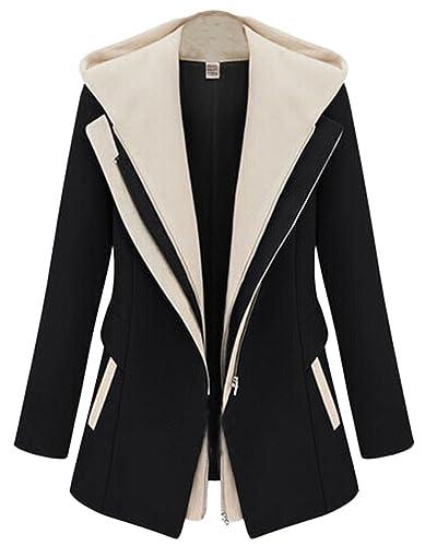 Mujer Abrigo Clasico Trenca Abrigo de Manga Larga Blazer Chaqueta con Capucha