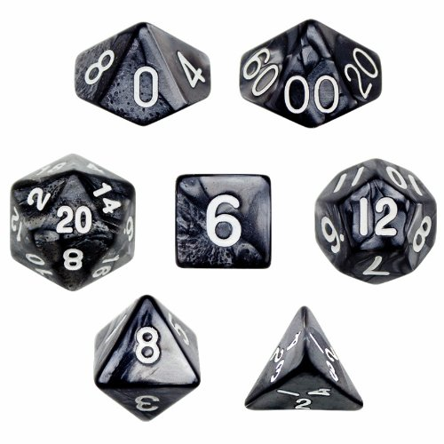 - 7 Die Polyhedral Dice Set - Smoke (Black Pearl) with Velvet Pouch By Wiz Dice