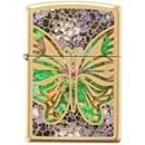 Zippo Butterfly Stained Glass Fuzion 2015 High Polish Brass Lighter