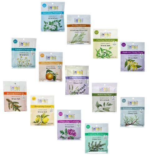 Inspiration Aromatherapy Mineral Bath (Aura Cacia 2.5 Oz Mineral Bath Packet, All 13 scents Variety Pack)