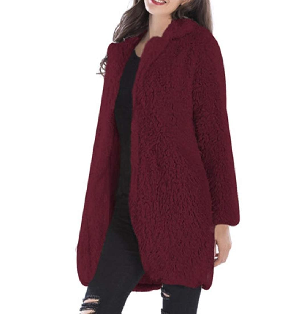 YUNY Womens Sweatshirt Plush Fleece Cardigan Wrap Leisure Wrap Wine red XL