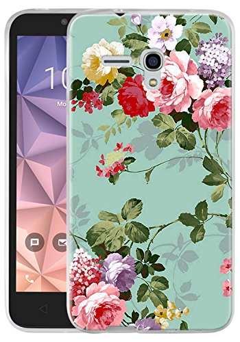 Jitterbug Smart (5.5) Case, Linkertech Slim Air Armor Thin Fit Silicone Gel Soft TPU Bumper Durable Flex and Easy Grip Protective Case for Jitterbug Smart (5.5inch) (Peony)
