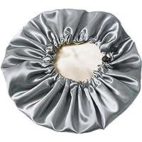 Dusch Cap Satin Bonnet Bath Hair Wrap Double Layer Sleeping Elastic Band Hat Gray, Bath Tools