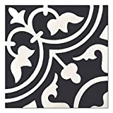 8x8 Flora Encaustic Black White Genuine Concrete Cement Tile Spanish Pattern by Squarefeet Depot