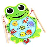 (Frog) Baby Kids Magnetic Fishing Game Board Wooden Animal Frog Cat Fishing Toy with 2 Fishing Rod