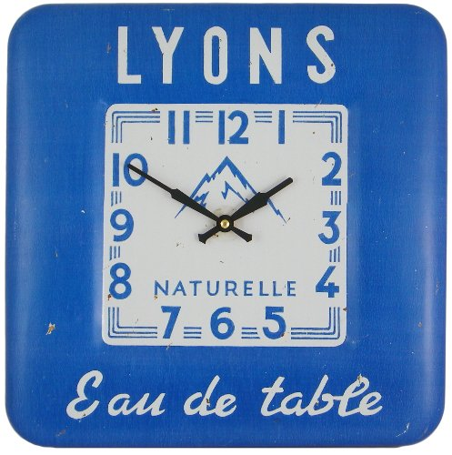 Roger Lascelles Square Tin Wall Clock, Water Design, 12.2-Inch