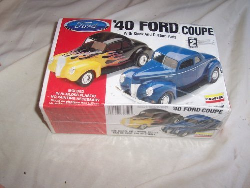 - Lindberg 1940 Ford Coupe with Stock & Custom Parts 1/25 Scale