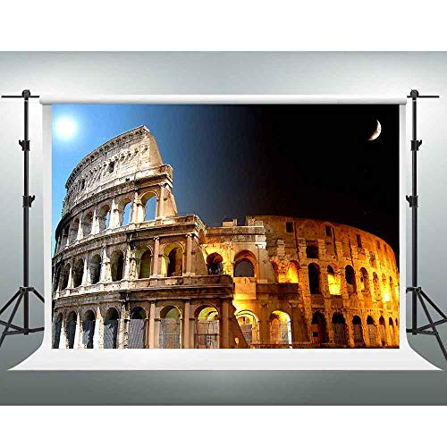 City Night Backdrop 10x7ft Roman Architectural Ruins Photo Backdrop for Pictures Wedding Photos Themed Party Background Photo Props XCGE797