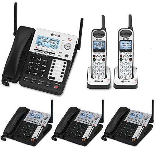 Cordless Business System - AT&T SynJ 4-Line Corded/Cordless Business Phone System with 3 Cordless Desksets & 1 Cordless Handsets