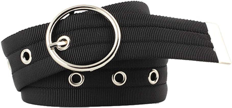 Emorias 1 Pcs Cinturón de Mujer Hueco Hebilla Redonda Personalidad Correas Lienzo Cinturones Ropa Accesorios - Negro