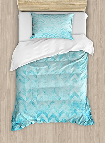 Ambesonne Turquoise Duvet Cover Set, Geometric Design Chevron Patterns on Old Vintage Paper Contemporary Art Print, Decorative 2 Piece Bedding Set with 1 Pillow Sham, Twin Size, Pale Turquoise