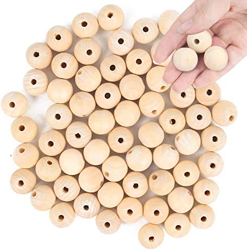 BigOtters Wood Craft Beads, 25mm (1 Inch) Natural Wood Beads Unfinished Loose Wood Beads Crafts Round Ball Wooden Loose Beads for Home and Holiday Decor DIY Jewelry Making
