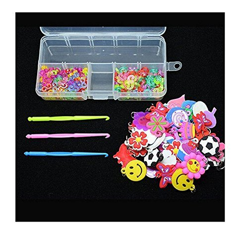 Kid's Craft Dangle Charms+S-Clips+C-Clips+Hook+Box Kit Rubber Band Bracelet