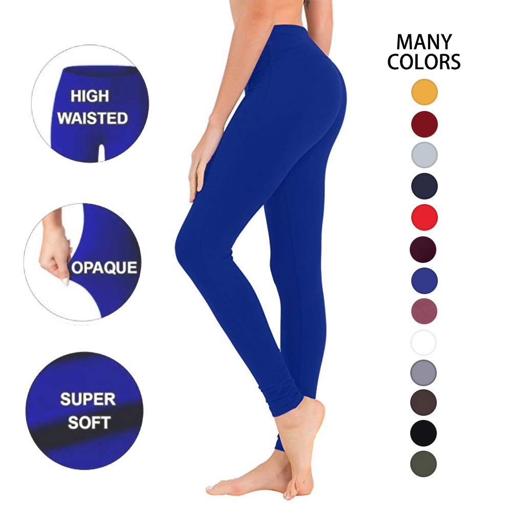 High Waisted Leggings for Women – Soft Athletic Workout Pants - Reg & Plus Size (Royal Blue, One Size (US 2-12))