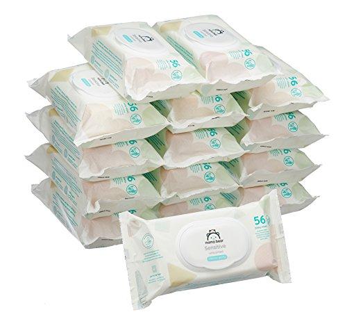 🥇 Marca Amazon –  Mama Bear Sensitive Toallitas húmedas para bebé – 15 Paquetes