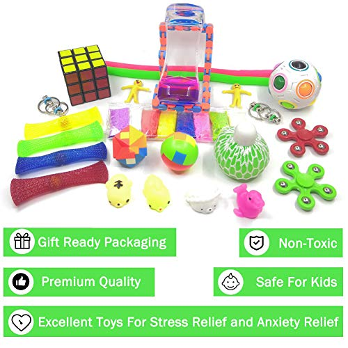 GLORY 4 Packs Push Pop Bubble It Sensory Rainbow Fidget Toys Autism ADHD Special Needs Stress Reliever Silicone Squeeze Fidget Toys Gift for Kids and Adults