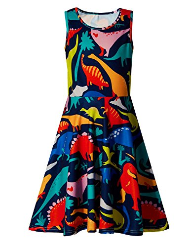 Uideazone Little Girls Print Dinosaur Summer Sleeveless Dresses Cute Sundress 6-7 Years