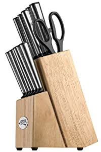 Ginsu Koden Series Stainless Steel 14-Piece Cutlery Set with Natural Hardwood Block 5200