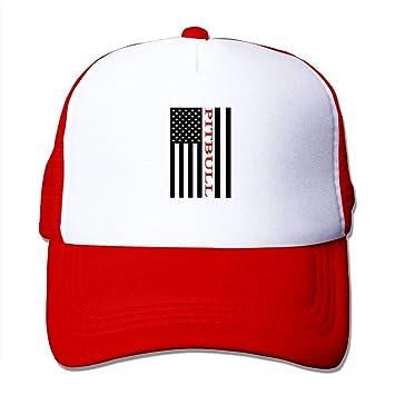 3cf3a72d4d0 Amazon.com   MKILIJNH American Flag Pitbull Dog Men Women Adjustable ...