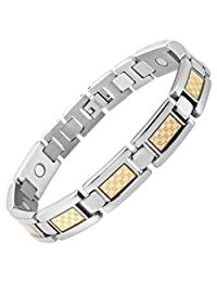 Willis Judd New Mens Titanium Magnetic Bracelet with Gold Carbon Fiber Insets Free Link Removal Tool