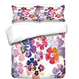 iPrint Duvet Cover Set,Hawaiian,Exotic Floral Print Island Theme Tropical Hawaii Flowers Pattern Art Print,Purple Red Orange,Best Bedding Gifts for Family Or Friends
