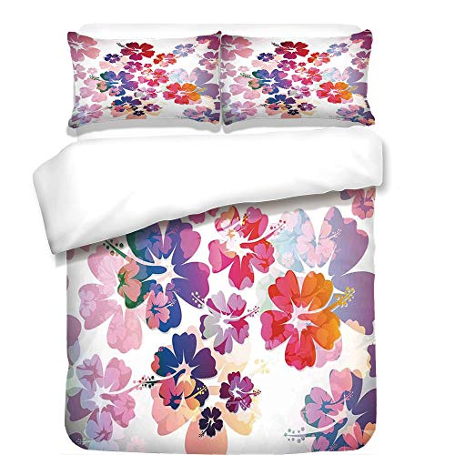 iPrint Duvet Cover Set,Hawaiian,Exotic Floral Print Island Theme Tropical Hawaii Flowers Pattern Art Print,Purple Red Orange,Best Bedding Gifts for Family Or Friends by iPrint
