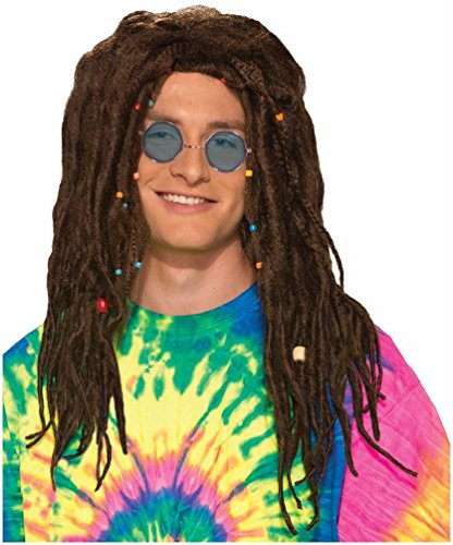 Dreadlocks Wig - Reggae Wig for Guys, Girls, Children - 2 Colors - #1 Reggae Hippie Rasta Wig (80s Guys Costume)