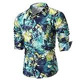 Men's Print Shirt Starry Sky Graphic Cotton Casual Dress Shirts Romatic Guy Zulmaliu (L, Green)