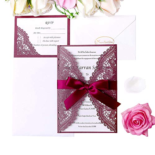 PONATIA 20 Pieces Laser Cut Wedding Invitation Cards Kits with Ribbons +RSVP Cards For Bridal Shower Engagement Birthday Baby Shower Graduation Cardstock (Burgundy+ Burgundy -