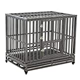 Cheap LUCKUP Heavy Duty Dog Cage Strong Metal Kennel and Crate for Medium and Large Dogs, Pet Playpen with Four Wheels,Easy to Install,46 inch,Black … …