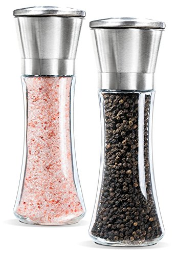 YAMO Premium Stainless Steel Salt and Pepper Grinder Set Brushed Stainless Steel Pepper Mill and Salt Mill - Glass Tall Body, 5 Grade Adjustable Ceramic Rotor - Salt and Pepper Shakers, Set of 2 (Stainless Steel Salt And Pepper Mill)