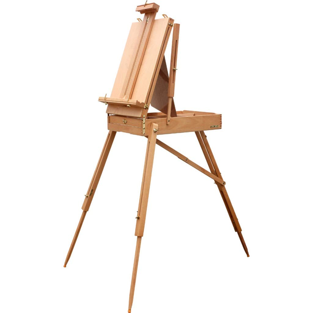 QTT Painted Oil Painting Box, Multi-Function Portable Oil Easel, Wood Color Toolbox, Sketch Portable